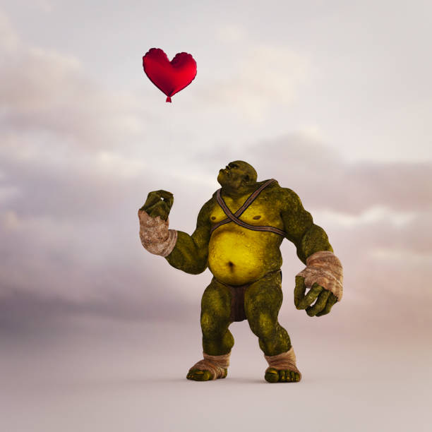 Angry ogre looking up at floating red balloon heart:スマホ壁紙(壁紙.com)