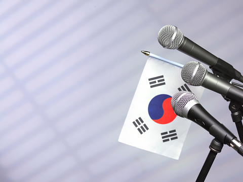 Party Conference「South Korea flag with mics」:スマホ壁紙(8)