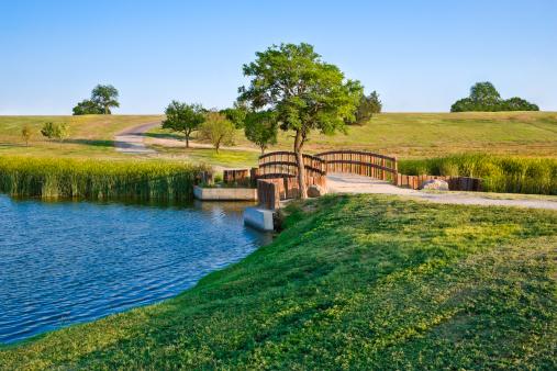 Footbridge「summer footbridge and lake」:スマホ壁紙(3)