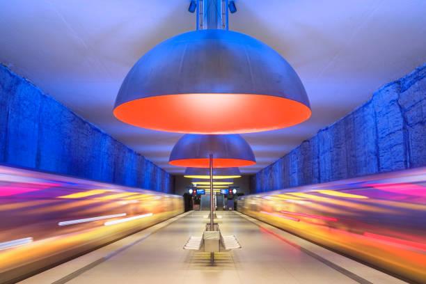 Colourful subway station in Munich Germany:スマホ壁紙(壁紙.com)