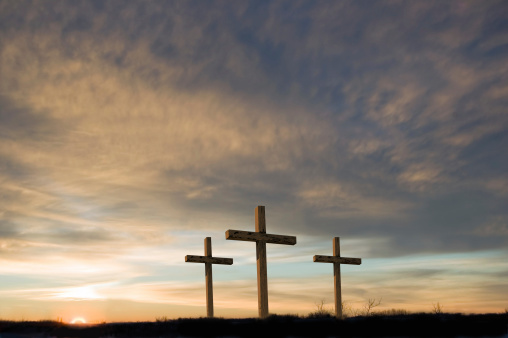 Hope - Concept「Three crosses on Good Friday with setting sun and  copy.」:スマホ壁紙(2)