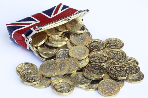 Change Purse「Union Jack purse with one pound coins spilling out.」:スマホ壁紙(10)
