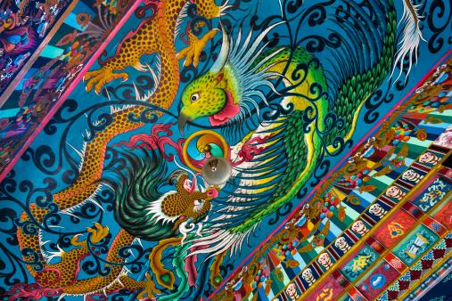 Himachal Pradesh「Drikung Kagyu Gompa Monastery, painted wall mural」:スマホ壁紙(10)