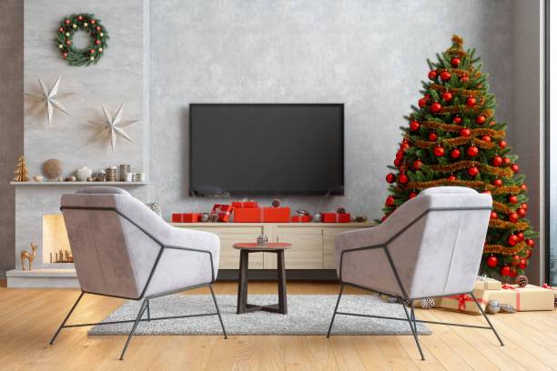 Smart Tv Mockup With Blank Screen In Modern Living Room With Armchairs, Christmas Tree And Gift Boxes:スマホ壁紙(壁紙.com)
