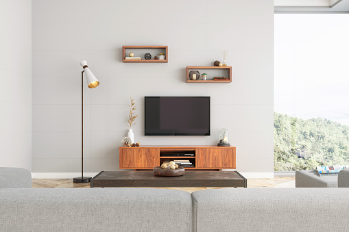 Digitally Generated Image「Smart Tv Mockup with blank screen in modern living room」:スマホ壁紙(9)