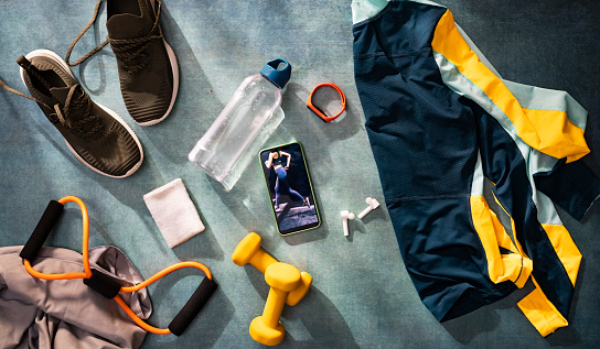 Net - Sports Equipment「Ready for the Workout: a Flat Lay Exercise Still Life, an Overhead View」:スマホ壁紙(3)