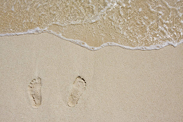Footsteps on the beach:スマホ壁紙(壁紙.com)