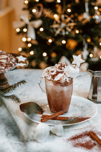 Gingerbread Cookie「Cozy Christmas Hot Chocolate with marshmallowss, cookies and christmas tree」:スマホ壁紙(11)