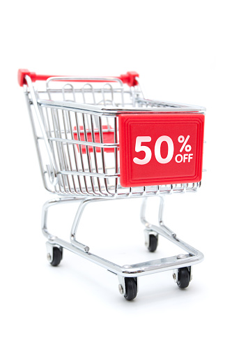 Shopping Cart「Shopping Sale - 50% Discount with Shopping Cart isolated on white」:スマホ壁紙(12)