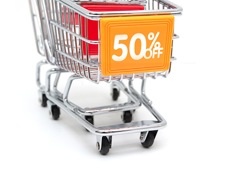 Start Button「Shopping Sale - 50% Discount with Shopping Cart isolated on white」:スマホ壁紙(3)