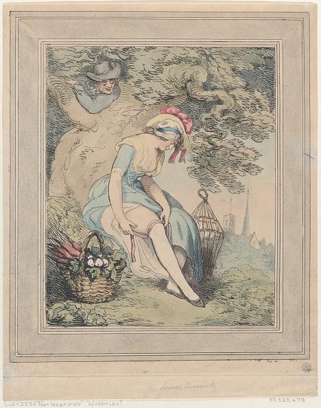 Stockings「Girl With A Basket And Birdcage Adjusting Her Garter」:写真・画像(2)[壁紙.com]