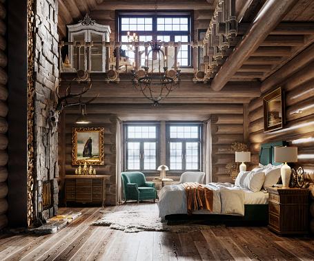 Ski Resort「3d render of bedroom in winter cottage」:スマホ壁紙(8)