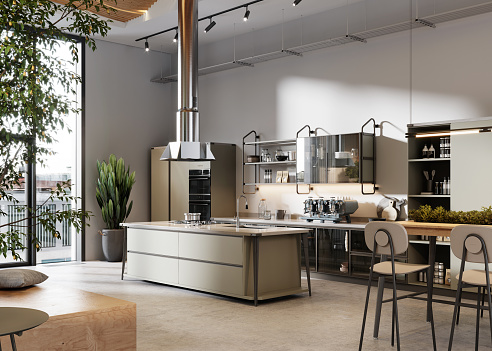 New Business「3d render of a large office space kitchen」:スマホ壁紙(3)