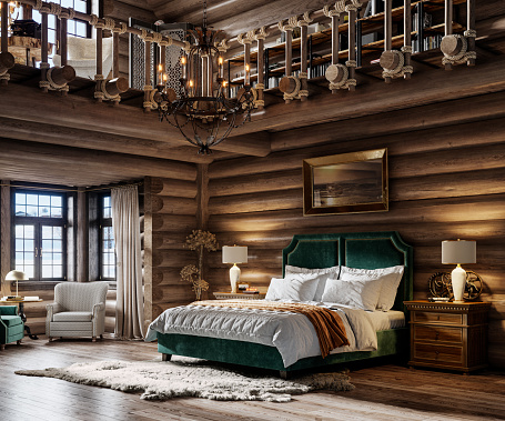 Chalet「3d render of winter cottage bedroom」:スマホ壁紙(3)