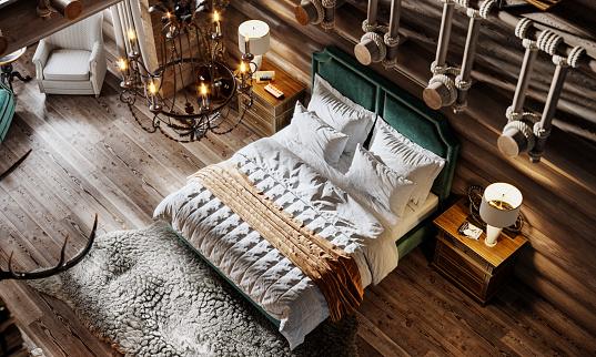 Ski Resort「3d render of luxurious interior of a bedroom in cottage」:スマホ壁紙(13)