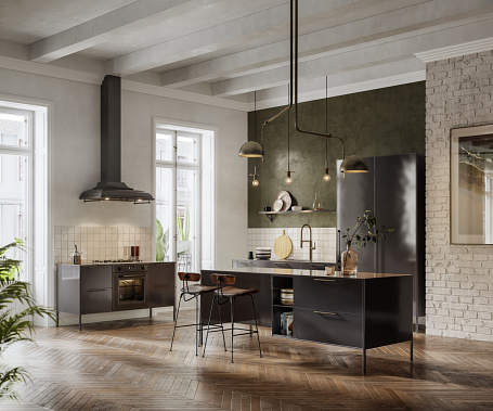 Parquet Floor「3d render of a spacious and open kitchen interior」:スマホ壁紙(4)