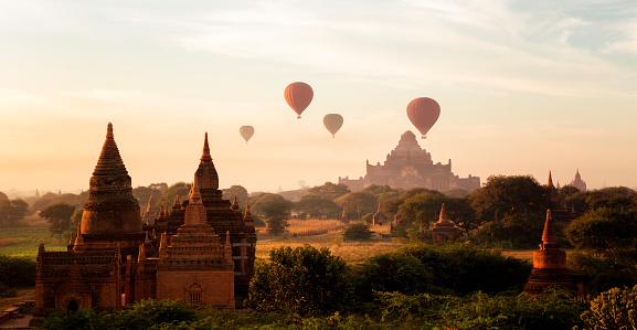 Temple「バガン日の出、ビルマ」:スマホ壁紙(11)