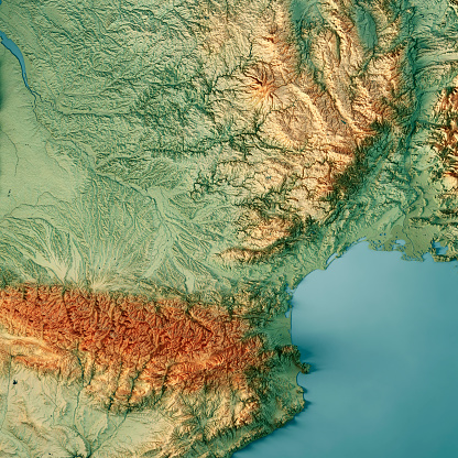 Beziers「Occitanie 3D Render Topographic Map Color」:スマホ壁紙(2)