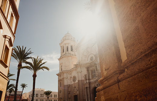 Tradition「Cadiz Cathedral facade surrounded by palm trees in Andalusia, Spain」:スマホ壁紙(12)