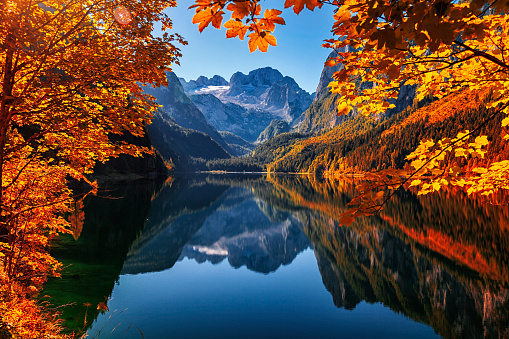 Dachstein Mountains「Autumn on lake Gosausee in Salzkammergut, Austria」:スマホ壁紙(17)