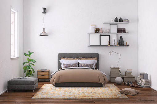 White Color「Modern bedroom interior with blank wall for copy space」:スマホ壁紙(3)