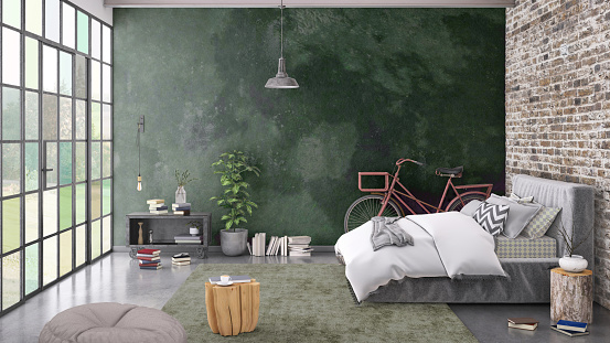 Scandinavia「Modern bedroom interior with blank wall for copy space」:スマホ壁紙(17)