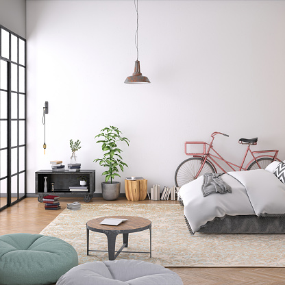 Hostel「Modern bedroom interior with blank wall for copy space」:スマホ壁紙(14)