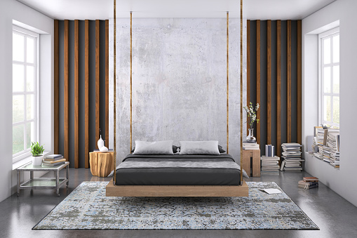 Bed - Furniture「Modern bedroom interior with blank wall for copy space」:スマホ壁紙(10)