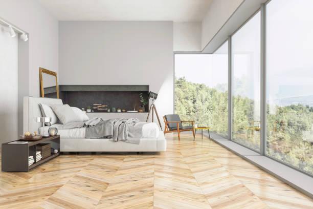 Modern Bedroom interior with nature view:スマホ壁紙(壁紙.com)