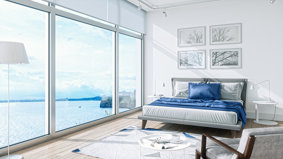 郊外の風景「海の景色を望むモダンなベッドルーム・インテリア」:スマホ壁紙(13)