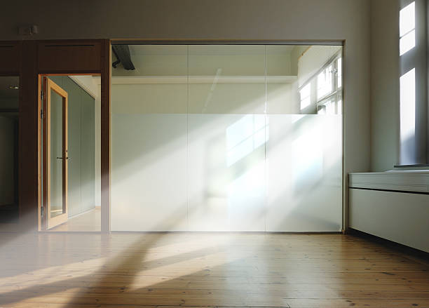 Room with beams of sunlight through glass wall:スマホ壁紙(壁紙.com)