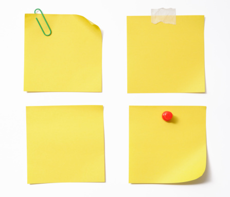 Adhesive Note「Four different blank yellow sticky note on white background」:スマホ壁紙(2)