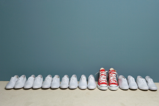 Part of a Series「Pair of shoes in row against wall」:スマホ壁紙(6)