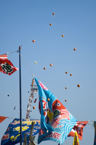 Japanese Language「Banners Japanese new year decoration at fishing boat」:スマホ壁紙(1)