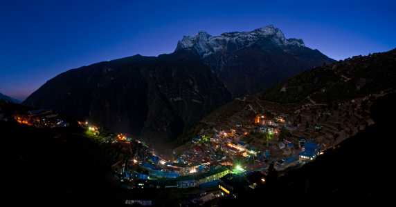 Khumbu「Sherpa village illuminated blue starlight mountains Namche Bazar Himalayas Nepal」:スマホ壁紙(8)