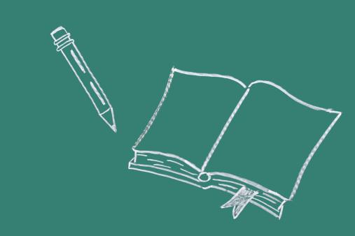 Cartoon「Book and pen drawn on blackboard」:スマホ壁紙(4)