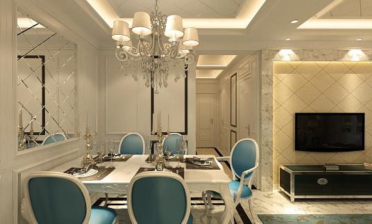Villa「Classical Style Dining Room Interior」:スマホ壁紙(11)