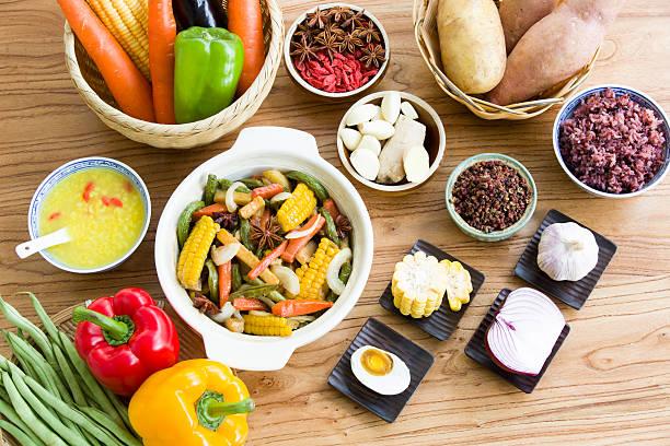 Assorted vegetables and cooked vegetable dish:スマホ壁紙(壁紙.com)