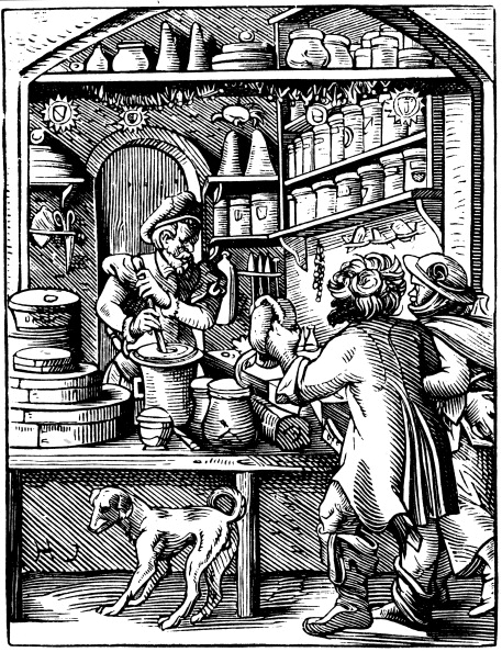 Mortar and Pestle「The Druggist's Shop, 1568. Artist: Jost Amman」:写真・画像(15)[壁紙.com]