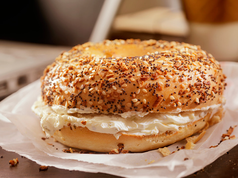 Cream Cheese「Toasted Bagel with Cream Cheese at your Desk」:スマホ壁紙(1)