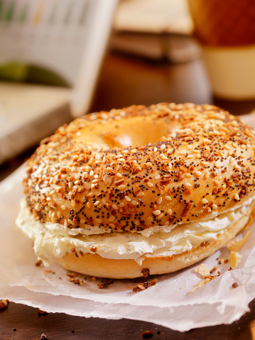 Cream Cheese「Toasted Bagel with Cream Cheese at your Desk」:スマホ壁紙(8)
