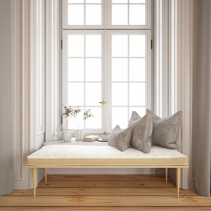 Bench「Tranquil Window Side with Pillows and Bench」:スマホ壁紙(0)
