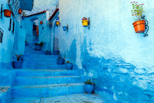 カラー画像「Blue staircase & colourful flowerpots, Chefchaouen,Morocco,North Africa」:スマホ壁紙(9)