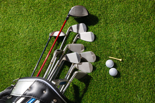 Carefree「Golf clubs in the bag,balls and tee on grass」:スマホ壁紙(11)