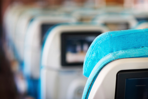 Economy Class「Row of seats in airplane」:スマホ壁紙(17)