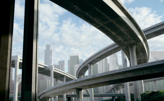 City Of Los Angeles「Freeway and office buildings, low angle view (digital composite)」:スマホ壁紙(8)