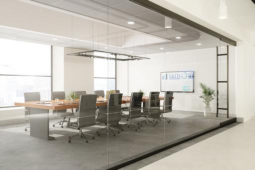 上映会「テーブルとオフィスチェアを備えた空の会議室の外見」:スマホ壁紙(10)