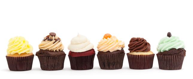 カップケーキ「カップケーキの列(多様)」:スマホ壁紙(2)
