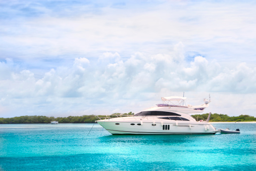 Turquoise Colored「Luxury Yachts anchored in a tropical exotic island beach」:スマホ壁紙(12)