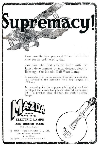 Light Bulb「Mazda Half-Watt Type Electric Lamps Advert, 1919」:写真・画像(17)[壁紙.com]